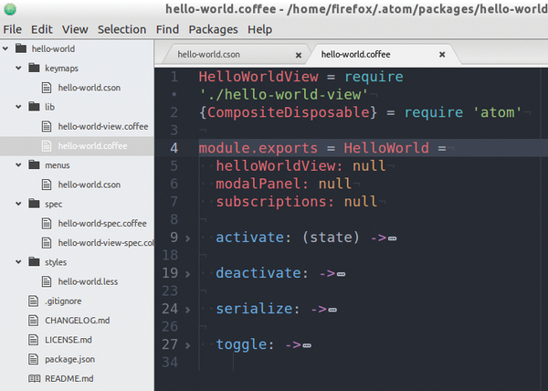 Adding new functions to the Atom text editor / 28 / 2016
